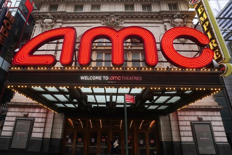 An AMC theatre is pictured in New York