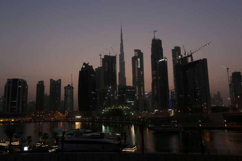 FILE PHOTO: View of Burj Khalifa the tallest building from the Business Bay area in Dubai