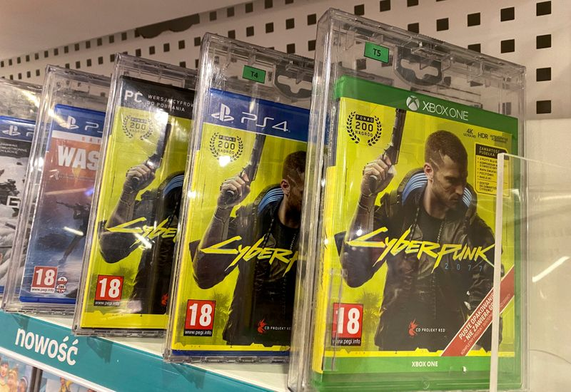 FILE PHOTO: Boxes with CD Projekt's game Cyberpunk 2077 are displayed in Warsaw, Poland