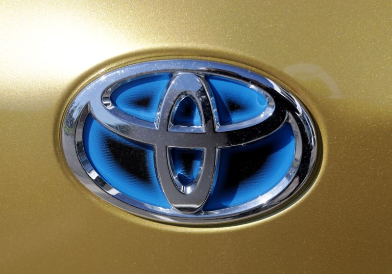 FILE PHOTO: FILE PHOTO: The logo of automaker Toyota is seen on a car in France