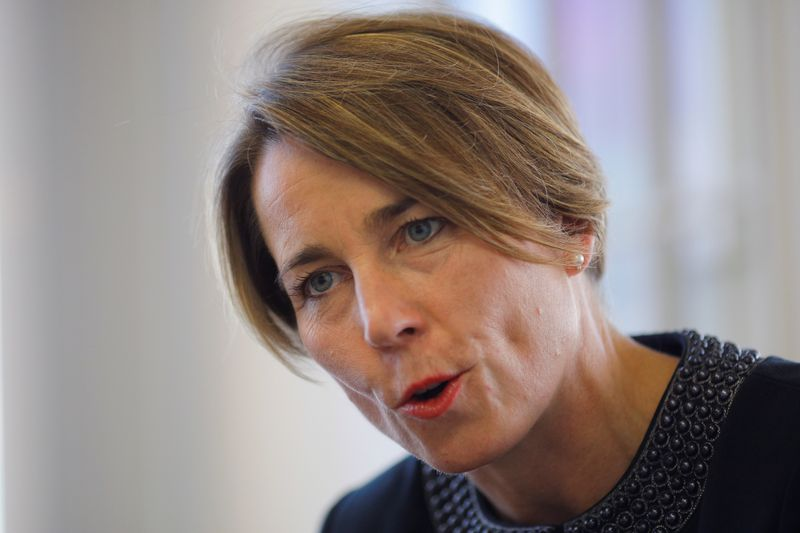 Massachusetts Attorney General Maura Healey answers a question during an interview with Reuters at her office in Boston