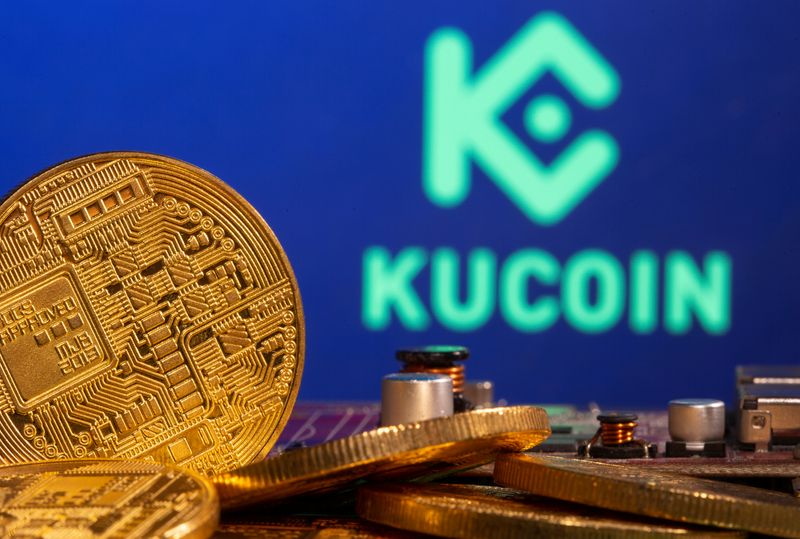 Representations of cryptocurrency is seen in front of a Kucoin logo in this illustration