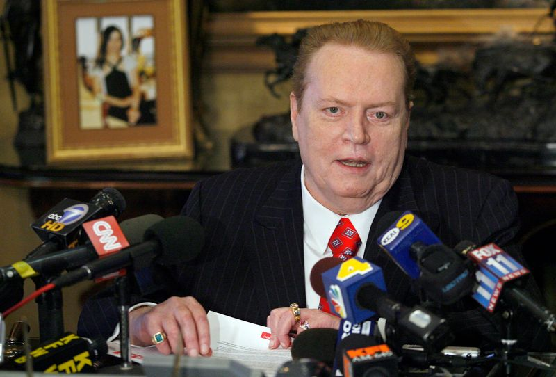 Larry Flynt, head of Larry Flynt Publications, speaks to the media about the