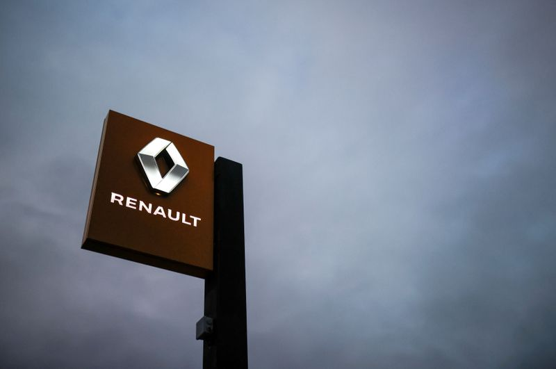 FILE PHOTO: The logo of Renault carmaker is pictured at a dealership in France