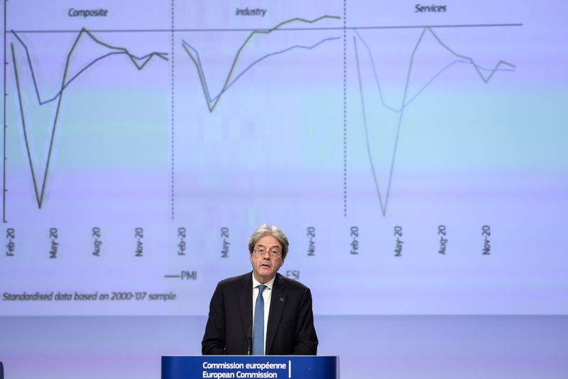 Press conference by economy chief Gentiloni on the bloc's winter economic forecast