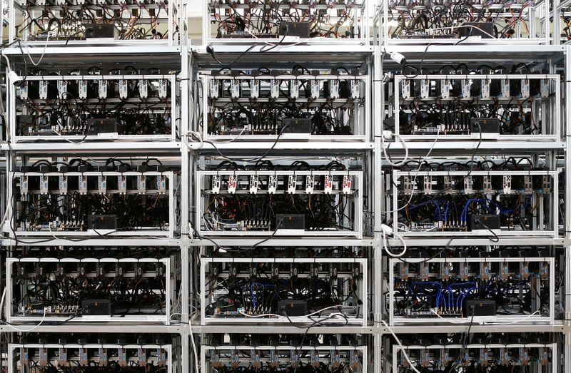 FILE PHOTO: Bitcoin mining computer servers are seen in Bitminer Factory in Florence