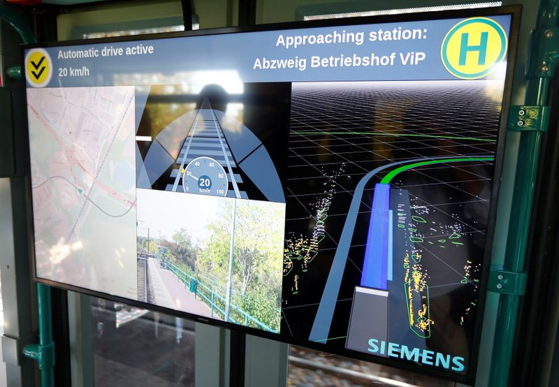 A monitor shows technical datas as the world's first autonomous tram Combino is presented by Siemens Mobility during a media presentation in Potsdam