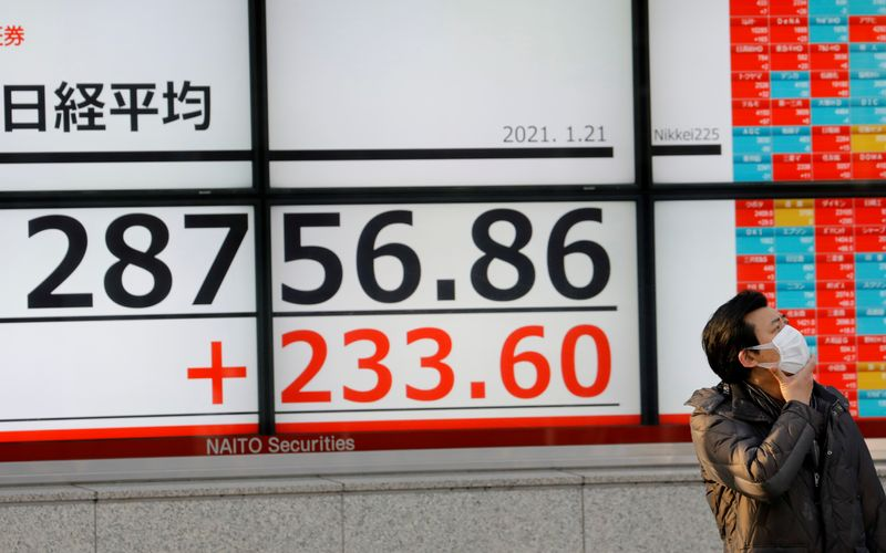 FILE PHOTO: A man wearing a protective mask, amid the coronavirus disease (COVID-19) outbreak, stands in front of an electric board showing Nikkei index outside a brokerage in Tokyo