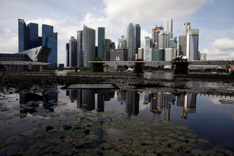 FILE PHOTO: A view of the city skyline in Singapore