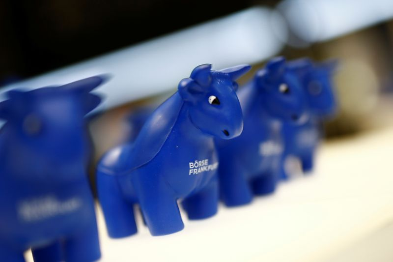 FILE PHOTO: Plastic bull figurines, symbols of the Frankfurt stock exchange are pictured at the Frankfurt stock exchange