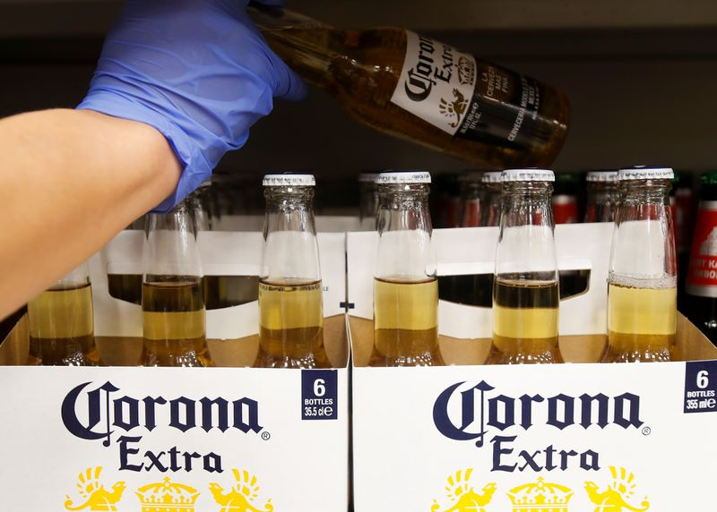 Bottles of Corona Extra beer are displayed for sale in a supermarket in Moscow