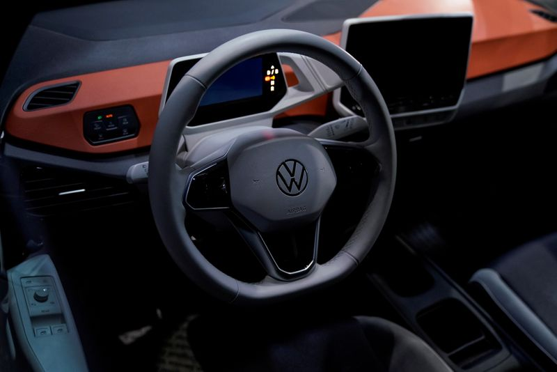 FILE PHOTO: The interior of a Volkswagen electric ID car is seen during a construction completion event of SAIC Volkswagen MEB electric vehicle plant in Shanghai