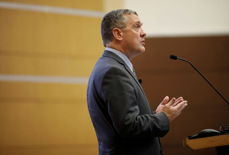 FILE PHOTO: St. Louis Federal Reserve Bank President James Bullard speaks at a public lecture in Singapore