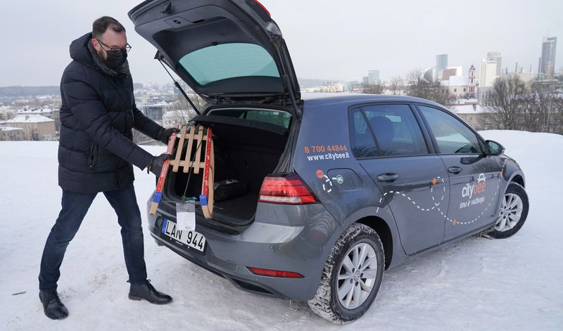 FILE PHOTO: Car-sharing platform CityBee makes Lithuanian capital Vilnius a first city in the world offering sledge sharing service