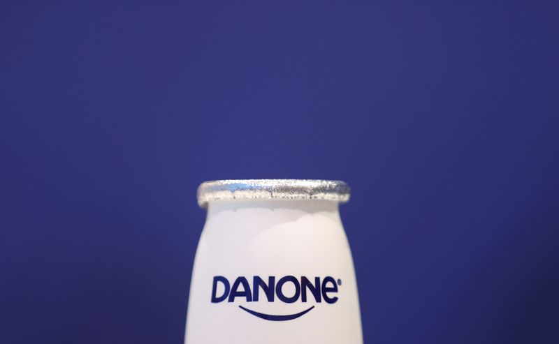 FILE PHOTO: A company logo is seen on a product displayed before French food group Danone's 2019 annual results presentation in Paris