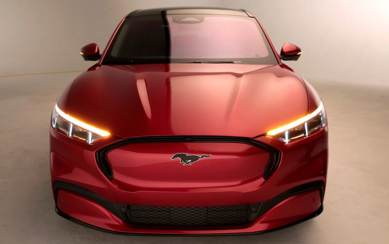 FILE PHOTO: Ford Motor Co. shows the electric Mustang Mach-E vehicle for a photo shoot at a studio in Warren, Michigan