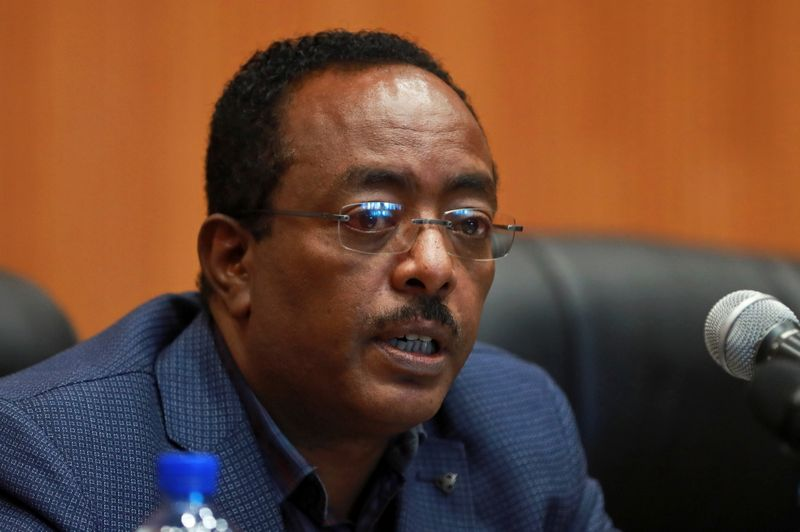 FILE PHOTO: Redwan Hussein, State Minister for Foreign Affairs and spokesperson for the newly established State of Emergency task force addresses a news conference in Addis Ababa