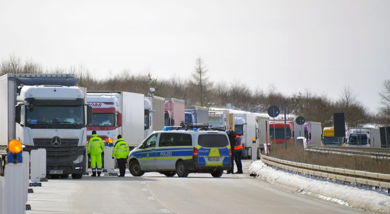 FILE PHOTO: The German-Czech border crossing of Breitenau is closed due to COVID-19 precautions