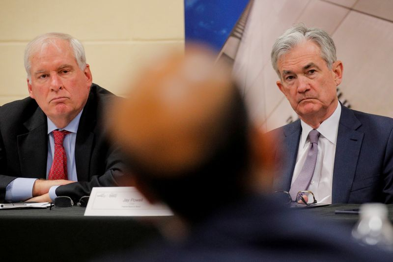 FILE PHOTO: Federal Reserve Chair Jerome Powell attends a presentation by the East Hartford CONNects, a Working Cities Challenge initiative in East Harford, Connecticut