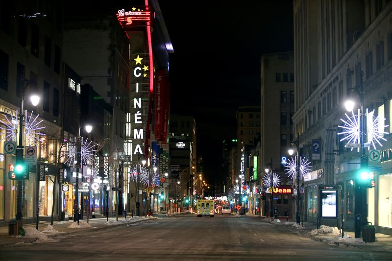 FILE PHOTO: St. Catherine Street is seen on the first night curfew imposed by the Quebec government