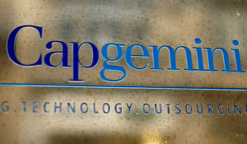 FILE PHOTO: The logo of Cap Gemini is seen at the entrance of the company headquarters in Paris
