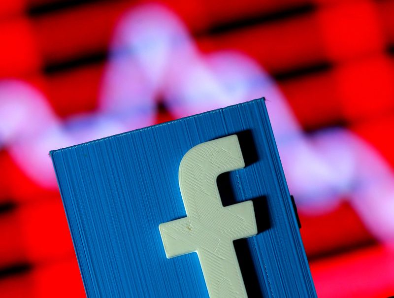FILE PHOTO: Illustration shows a 3D-printed Facebook logo in front of a stock chart