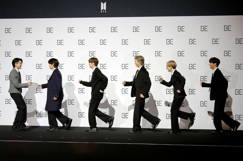 FILE PHOTO: Members of K-pop boy band BTS pose for photographs during a news conference promoting their new album