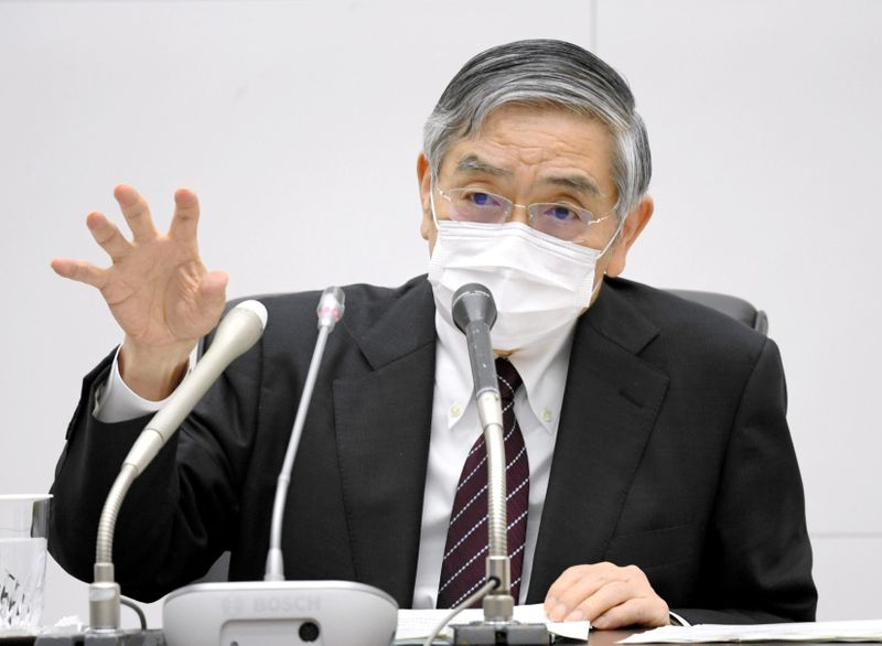 FILE PHOTO: Bank of Japan Governor Haruhiko Kuroda wearing a protective face mask attends a news conference as the spread of the coronavirus disease continues in Tokyo