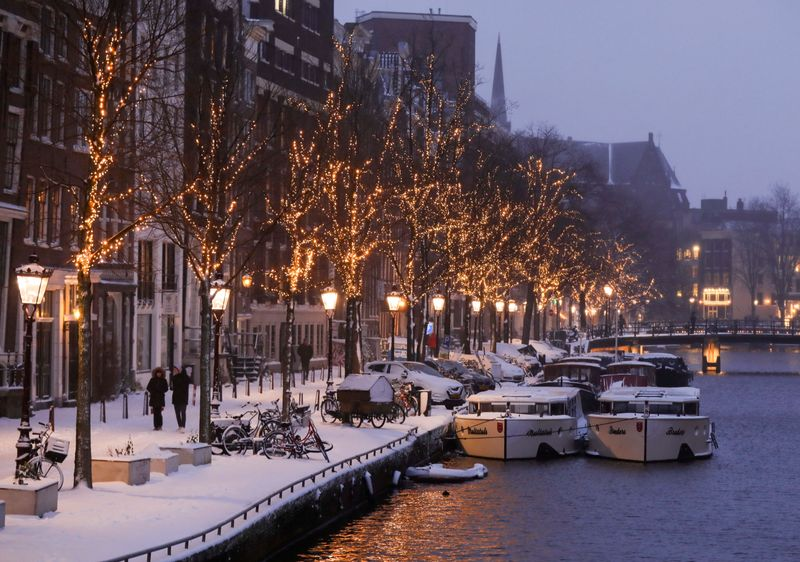 FILE PHOTO: Canals are seen after heavy snowfall in Amsterdam