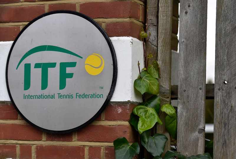 A logo is seen at the entrance to the International Tennis Federation headquarters, where the Tennis Integrity Unit is based, in London