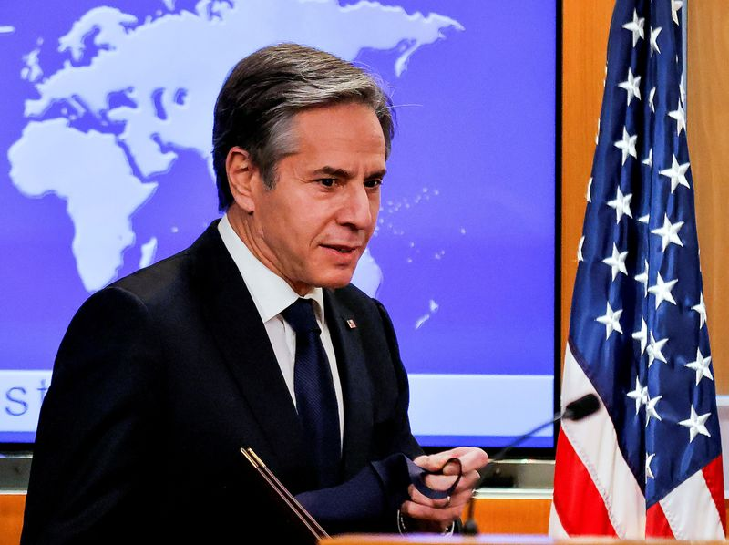 FILE PHOTO: New U.S. Secretary of State Antony Blinken begins his first press briefing at the State Department in Washington