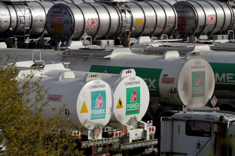 Tanker trucks are pictured at Mexican state oil firm Pemex's Cadereyta refinery