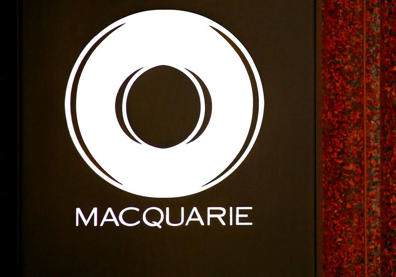 FILE PHOTO: The logo of Australia's biggest investment bank Macquarie Group Ltd adorns the main entrance to their Sydney office headquarters in Australia