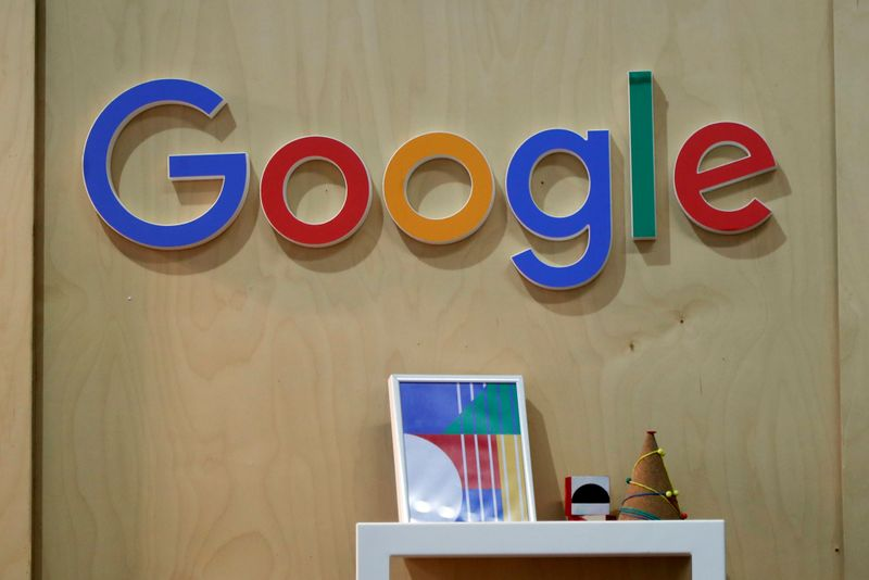 FILE PHOTO: The Google logo is seen at the Young Entrepreneurs fair in Paris