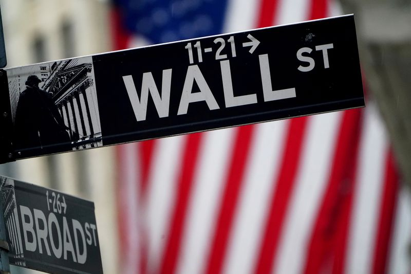 FILE PHOTO: A Wall Street sign is pictured outside the New York Stock Exchange, in New York City, U.S.