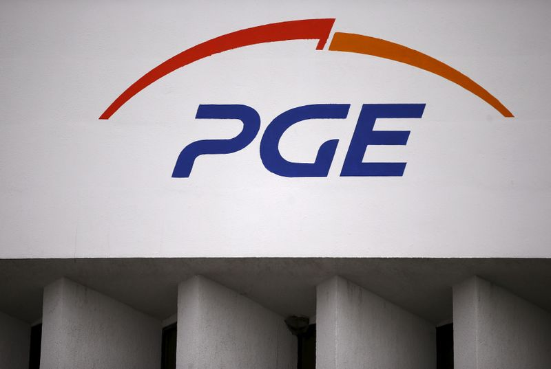 FILE PHOTO: The logo of PGE Group is seen on their building at the Belchatow Coal Mine, biggest opencast mine of brown coal in Poland, near Belchatow