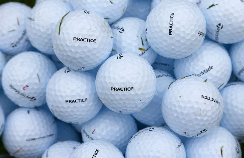 Golf balls are seen on the practice range during a practice round ahead of the British Open golf championship at Royal Lytham and St Annes