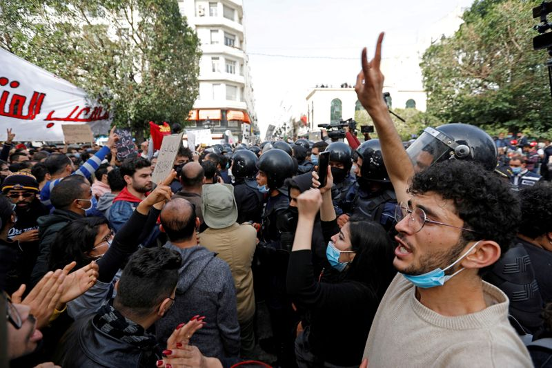 FILE PHOTO: Rally in Tunis to mark activist's death, protest police abuse