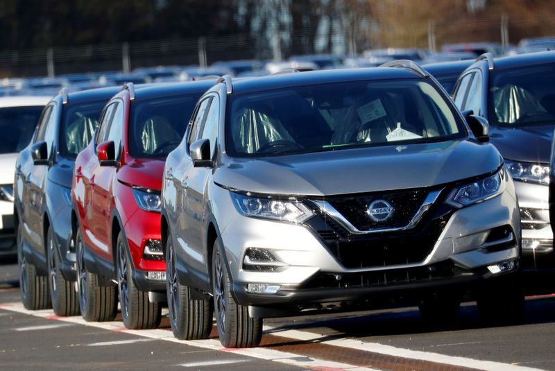 FILE PHOTO: Qashqai cars by Nissan are seen parked at the Nissan car plant in Sunderland