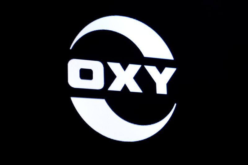 The logo for Occidental Petroleum is displayed on a screen on the floor at the NYSE in New York