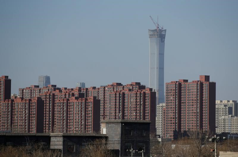 Apartment blocks are pictured in Beijing