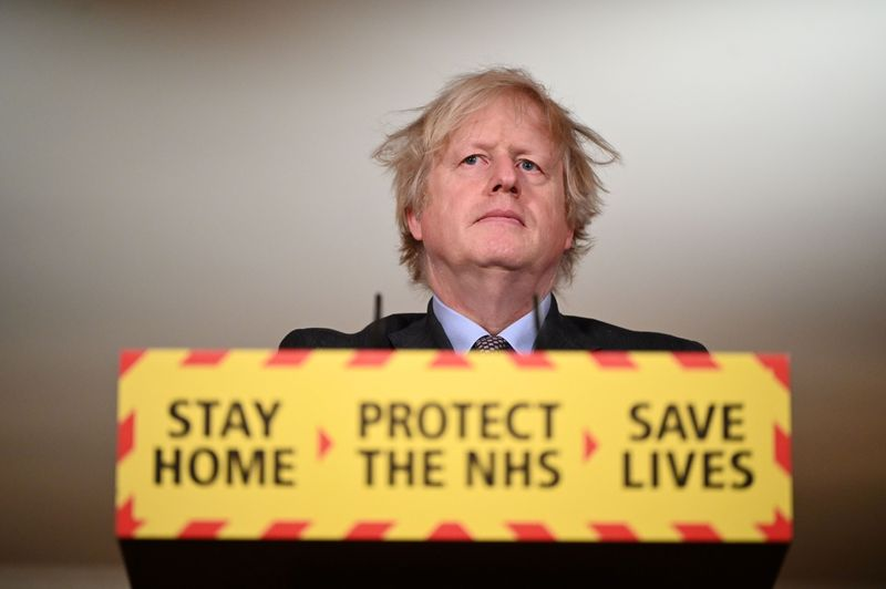 Britain's PM Johnson holds a coronavirus briefing at 10 Downing Street in London