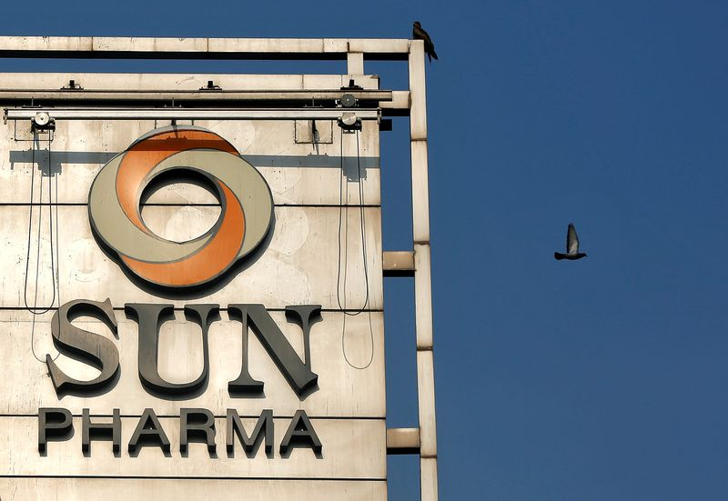 FILE PHOTO: The logo of Sun Pharma on the facade of its corporate office in Mumbai