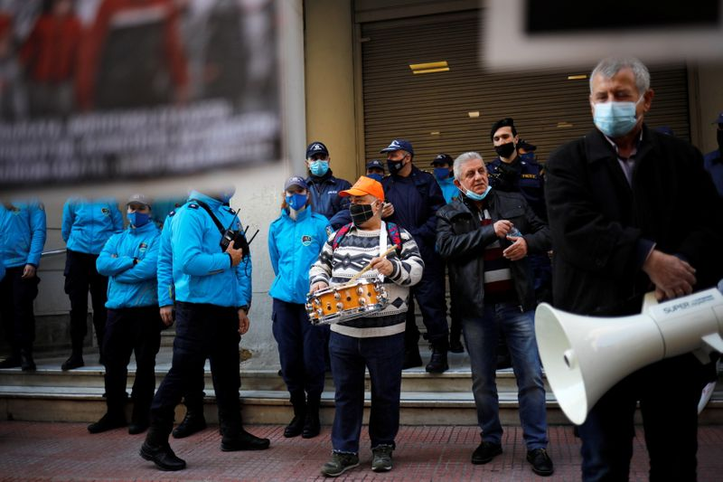 Greek hospital doctors and staff take part in a demonstration against a lack of intensive care units at public hospitals, in Athens