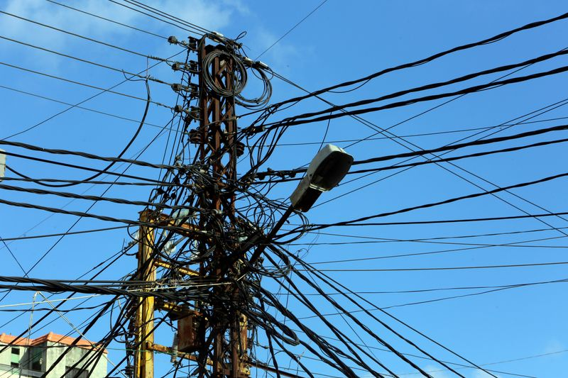 USFILE PHOTO: Electricity cables are seen in Tyre