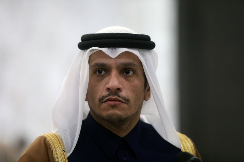 FILE PHOTO: Qatari foreign minister Sheikh Mohammed bin Abdulrahman Al-Thani, is pictured at the presidential palace in Baabda
