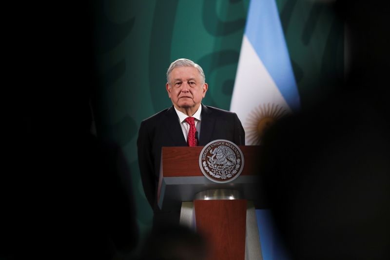 Mexico's President Obrador and Argentina's President Fernandez attend a news conference in Mexico City