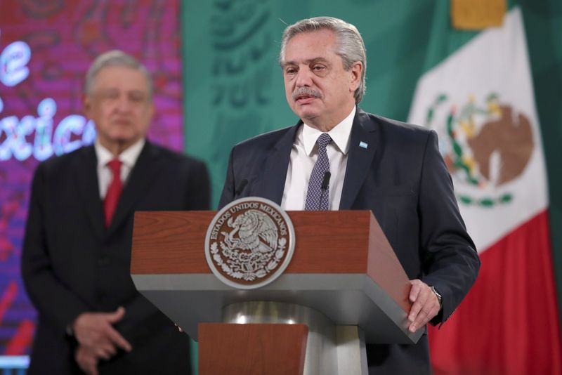 Mexico's President Andres Manuel Lopez Obrador and Argentina's President Alberto Fernandez attend a news conference at the National Palace, in Mexico City