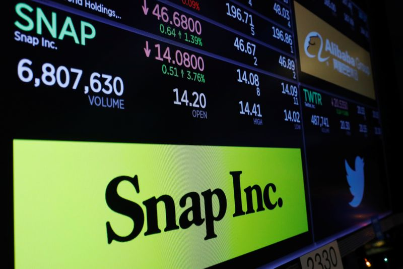 A logo of Snap is displayed on a monitor above the floor of the New York Stock Exchange shortly after the opening bell in New York