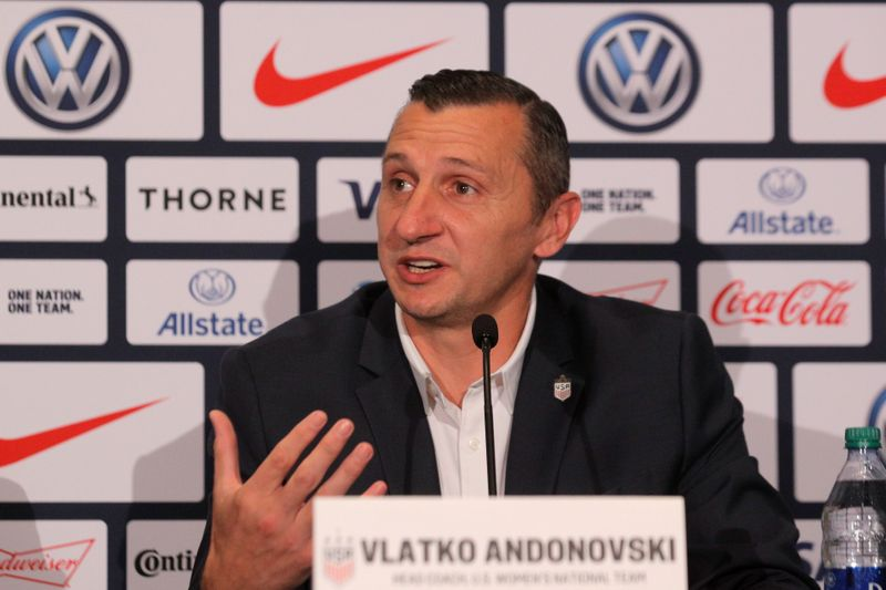 Vlatko Andonovski speaks during a news conference to announce his appointment as the new head coach of U.S. women's national soccer team in New York
